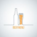 Beer bottle glass menu background Stock Image