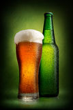Beer in bottle and glass Royalty Free Stock Photo