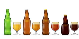 Beer bottle and glass vector Stock Image