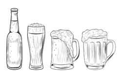 Beer bottle and glasses. Vector illustration isolated on white background. Hand drawn. vector illustration