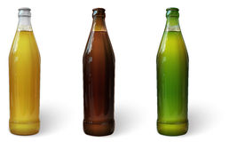 Beer in a bottle. Green bottle of beer. Brown bottle of beer. Glass bottle of beer. Vector. Glass bottles of beer of different colors stock illustration