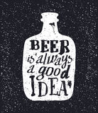 Beer bottle and handwritten lettering Stock Image