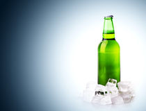Beer bottle in ice cubes Royalty Free Stock Image