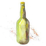 The beer bottle isolated on white background, watercolor illustration. Royalty Free Stock Photos