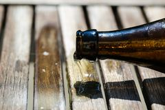 Beer bottle lies on table and ends, Father`s Day. Love stock photos