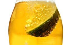 Beer bottle and lime Royalty Free Stock Photo