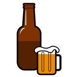 Beer Bottle and Mug. Half full beer bottle with a glass mug of beer Royalty Free Illustration