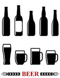 Beer bottle and mug set icon Stock Photography