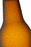 Beer bottle neck close up. Isolated on white background Stock Photo