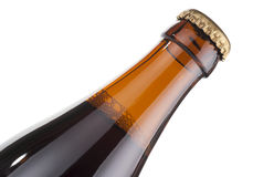 Beer bottle neck, isolated close-up Stock Images