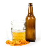 Beer  bottle and potato chips Stock Photos