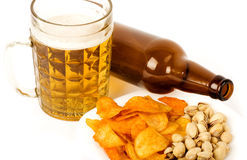 Beer bottle and potato chips Royalty Free Stock Photos