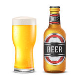 Beer bottle. Realistic gold vector beer bottle with  label and glass Royalty Free Stock Photography