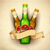 Beer Bottle with Ribbon Royalty Free Stock Photos