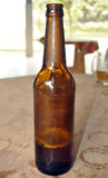 BEER BOTTLE SAMPLE. Bottle of beer exposed on a white background as a bottle sample specially adapted to contain beer which is a highly carbonated beverage Royalty Free Stock Photography