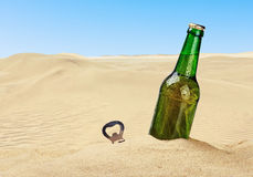 Beer bottle in the sand. In the desert Royalty Free Stock Image