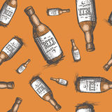 Beer Bottle Seamless Pattern Oktoberfest Festival Holiday Decoration Banner. Vector Illustration Stock Images