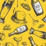 Beer Bottle Seamless Pattern Oktoberfest Festival Holiday Decoration Banner. Vector Illustration Royalty Free Stock Photos