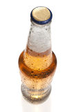 Beer bottle, shot from top, isolated Royalty Free Stock Photos