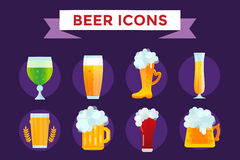 Beer bottle sign vector icons set Stock Photo