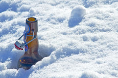 Beer bottle in snow Stock Image