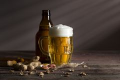 Beer bottle and some snacks Royalty Free Stock Images