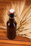Beer bottle and spikes of barley Stock Images