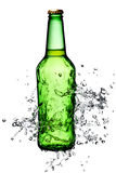 Beer bottle splash Stock Photo