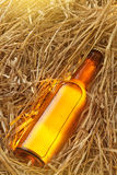 Beer bottle in the stack of hay Stock Photo