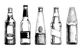 Beer bottle. Vector set of beer bottles in ink hand drawn style. isolated on white Stock Photography