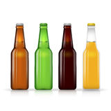 Beer bottle vector set. Dark and lager Royalty Free Stock Photos