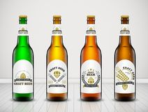 Beer bottle vector set. Vector set, Three-dimensional bottles. 3d illustration of empty beer bottles. Packing for your design. Realistic set of isolated objects Royalty Free Stock Photography
