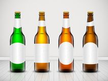 Beer bottle vector set. Vector set, Three-dimensional bottles. 3d illustration of empty beer bottles. Packing for your design. Realistic set of isolated objects Stock Photo