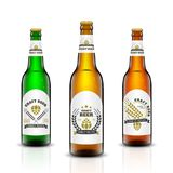 Beer bottle vector set. Vector set, Three-dimensional bottles. 3d illustration of empty beer bottles. Packing for your design. Realistic set of isolated objects Stock Photography