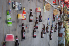 Beer Bottle Wall in Xitang Town Royalty Free Stock Images