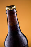 Beer bottle with water drops on golden background. Royalty Free Stock Photos