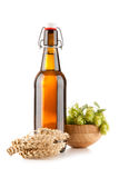 Beer bottle on white background Stock Photo