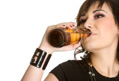 Beer Bottle Woman Stock Photos