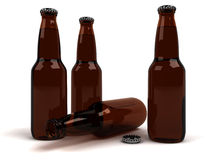 Beer Bottles. Three full brown beer bottles standing and one empty laying. Quality 3D rendering Royalty Free Stock Photos