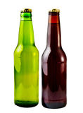 Beer Bottles. A close up on a beer bottles isolated on a white background Royalty Free Stock Images