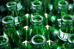 Beer bottles. Empty beer bottles taken from above Royalty Free Stock Photography