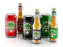 Beer bottles and aluminum cans with three different labels Stock Photography