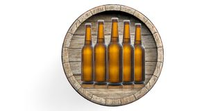 Beer bottles and a beer barrel on white background. 3d illustration. Beer bottles and a beer barrel isolated on white background. 3d illustration Stock Images