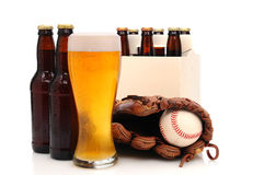 Beer Bottles and Baseball Glove with Ball Royalty Free Stock Photo
