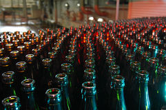 Beer bottles in a brewery Royalty Free Stock Photos