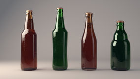 Beer Bottles. 3 D render of beer bottles of various sizes and colors standing on white background. They are filled with beer with nice bubbles and foam. There royalty free illustration