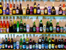 The beer bottles from different countries Stock Photography