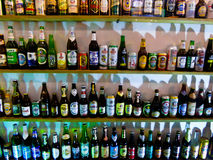 The beer bottles from different countries Royalty Free Stock Photography