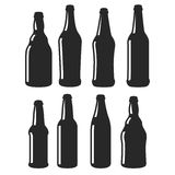 Beer bottles different shapes black vector icons Stock Photo