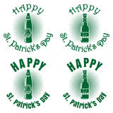 Beer bottles of different shapes to the St. Patricks Day Royalty Free Stock Image